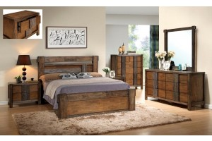 Ironbark Solid Rubber Wood Bedroom Suite -Queen and King