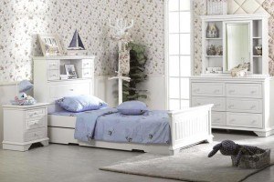 LARLU King Single Bed Frame with Single Trundle (Storage Bedhead)