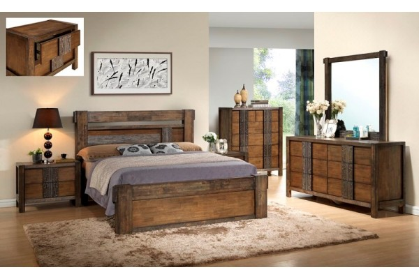 Ironbark Solid Rubber Wood Bedroom Suite -Queen and King