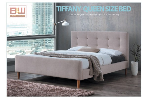 TIFFANY QUEEN SIZE BED - BEIGE