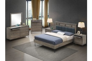Ragner Rubberwood Bed with Vinyl Headboard