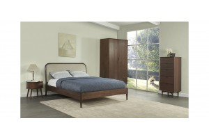 Orbit Bed, Oak Frame with Upholstered Bedhead-Queen and King