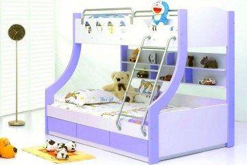 Fratelli Bunk Bed with 3 Drawers (Double to Single), Light Purple
