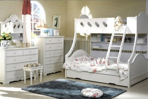Cloudy Bunk Bed with Single Trundle (Double to single)