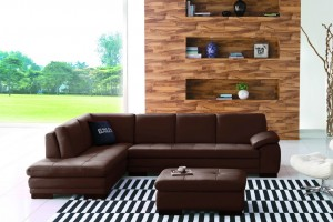 Paullo Full Leather Chaise Lounge with Ottoman, Chaise on Left (when facing)
