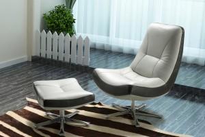 Torria Single Swivel Chair with Ottoman, Full Belgium Leather