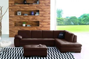 Paullo Full Leather Chaise Lounge with Ottoman, Chaise on Right (when facing)