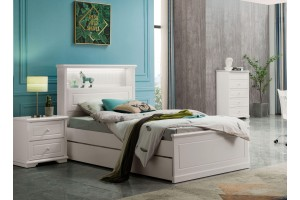 VANGOGH King Single Bed Frame with Single Trundle (Storage Bedhead)