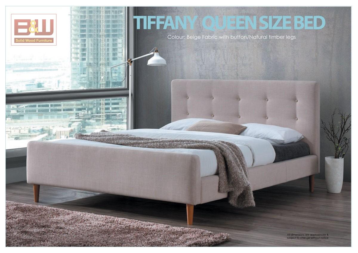 TIFFANY QUEEN SIZE BED - BEIGE