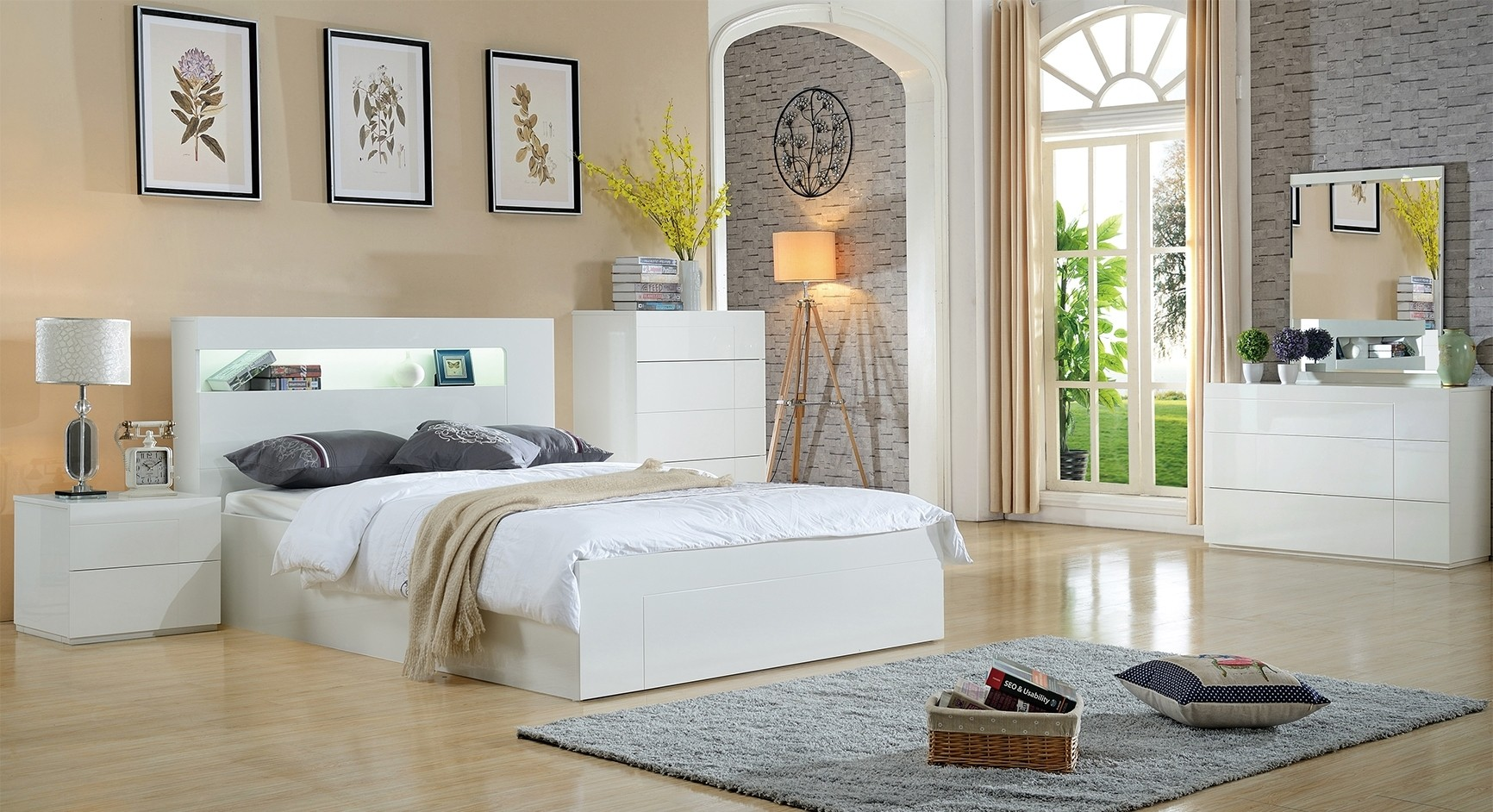 Seattle High Glossy Bed with Storage -Queen and King Available